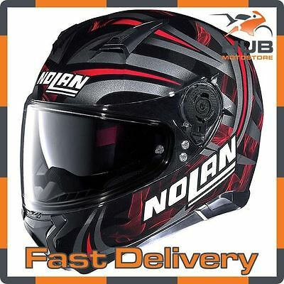 Nolan N87 Ledlight N-Com Full Face Motorcycle Motorbike Helmet - Black/Red