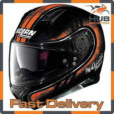 Nolan N87 Fulgor N-Com Full Face Motorcycle Motorbike Helmet - Black/Orange