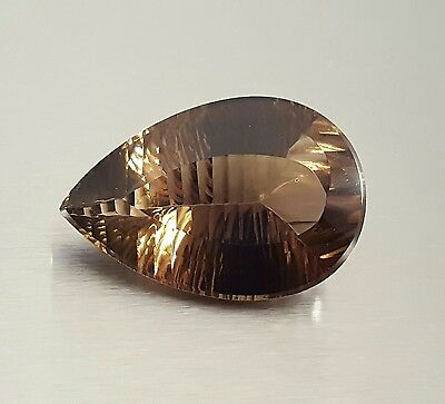 WaterfallGems 39.28ct Concave Cut Smoky Quartz Pear 29x19x12mm