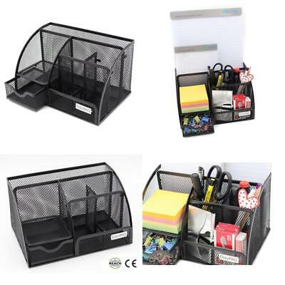 Desktop Organizer Office Storage Desk Holder Black Mesh Box Tray Pen Drawer Pen