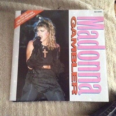 "Gambler - Poster Sleeve Madonna UK 7"" vinyl single record QA6585 GEFFEN 1985"