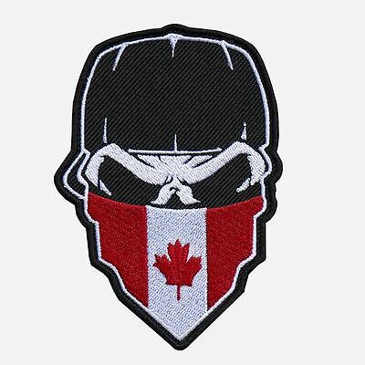 "SKULL with CAP and CANADIAN FLAG Hanky 9"" x 13"" embroidered CENTER Patch-0652"