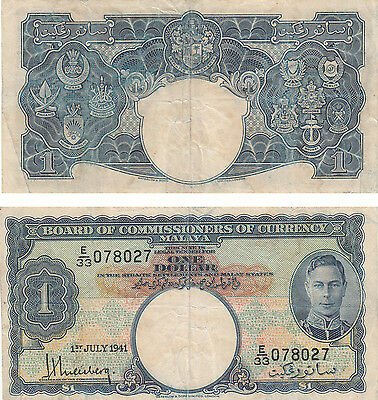 Board Of Commissioners Of Currency Malaya  $1 Banknote,pick#11,1-7-1941,#078027