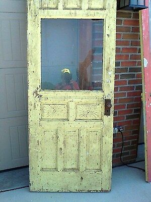 Antique Victorian wood door 9 Panel & Window w/knobs Sun ray pattern on 2 panels
