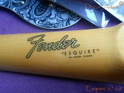 Replacement decal for 1967-1968 Fender Esquire Decal Vintage Logo Gold/Silver