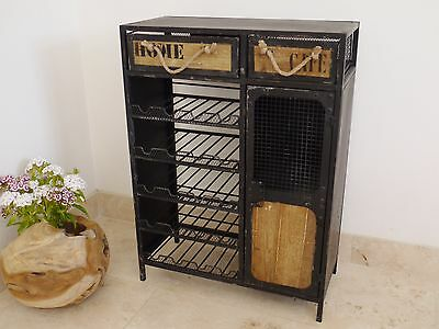 Industrial Rustic Wine Bottle Rack Cabinet Chest Of Drawers Drink Storage Unit
