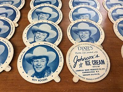 Vintage Dixies Ice Cream Lid Dixie Cup Johncox Dairy Star ROY ROGERS Blue Color