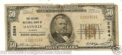 $50.00 1929 NATIONAL BANK NOTE Danville , IL. Charter# 2584  T-1