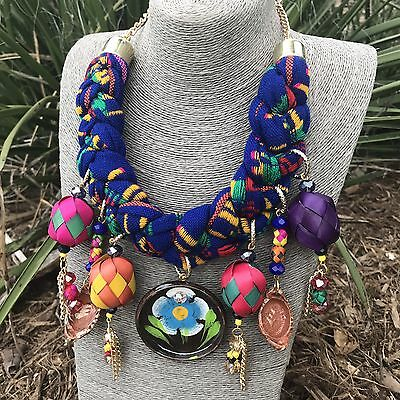 Mexican Serape Braided Necklace With Mini Clay Hand Painted Vessels Barro