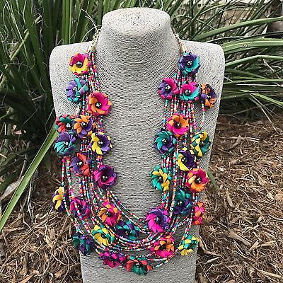 Mexican Handmade Floral Necklace With Palm Leafs & Beads Ethnic Tribal Jewelry