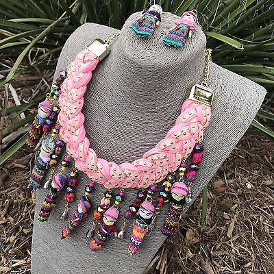 Mexican Braided Necklace With Mini Dolls Quita Penas Handmade