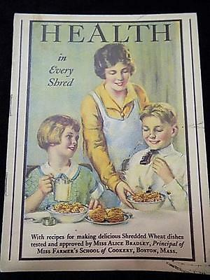 """Antique c.1930 """"Health in Every Shred"""" Shredded Wheat Educational Recipe Booklet"""