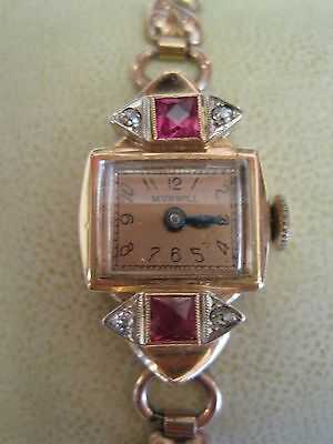 Munwill Swiss Ladies 14K Pink Gold Watch W/diamonds And Rubies Serviced Vintage