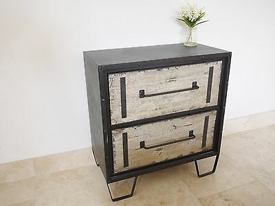 Industrial Rustic Chest Of Drawers Bedroom Storage Unit Cabinet 2 Drawer