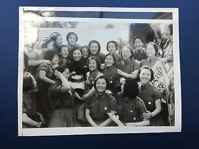 China Press Photo - Madame Chiang Kai-shek with Youth Crop Graduates 1940 7x9""