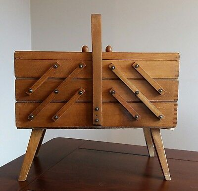 Vintage Wood 3 Tier Expandable Sewing Notions Box Accordion