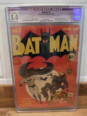 Batman DC comic issue 2 CGC 5.0 Golden age book fine grade