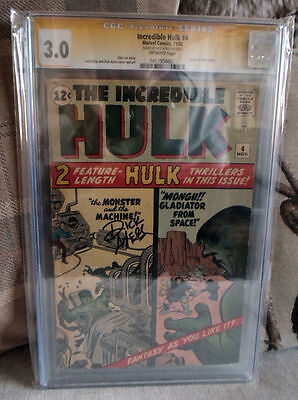 MARVEL Comics HULK 4 Signed 1962 3.0 CGC Dick Ayres signature series