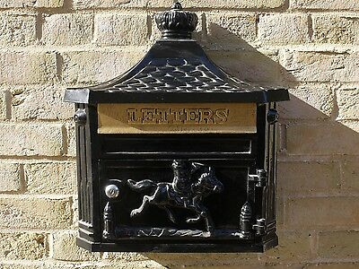 Antique Black Wall Mounted Lockable Aluminium Letter Post Mail Box