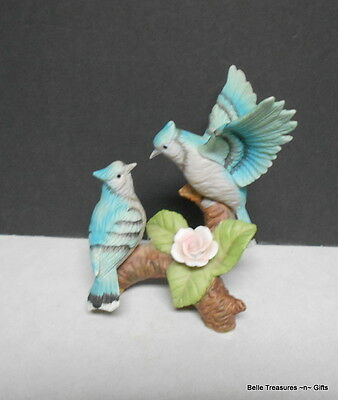 Beautiful Porcelain Blue Jay Birds Male and Female Figurine Perched on a Branch