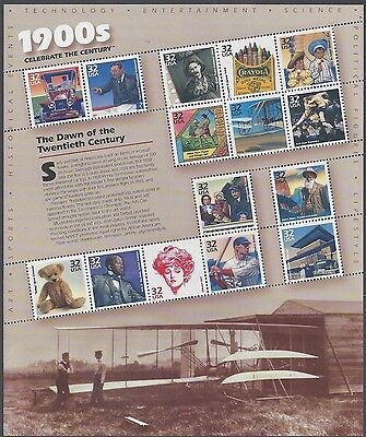 U. S. 3182 1998 32c Celebrate the Century - 1900's Issue - Pane of 15 - Mint NH