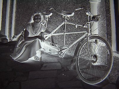 Young Girl Next to Tandem Bike Vintage Glass Negative Cycle Bicycle