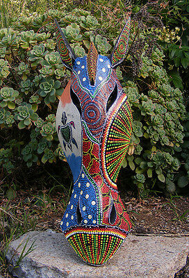 "African Giraffe Wood Wall Mask Carving Safari Jungle Home Decor 20"" x 6"" Dot Art"