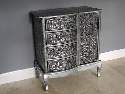 Embossed Modern Black/Silver 4 Drawer Cabinet Chest Of Drawers