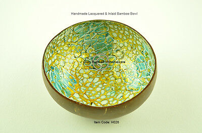 Handmade Decorative Coconut Bowl, Lacquered & Inlaid With Egg-Shell, Gold, H026