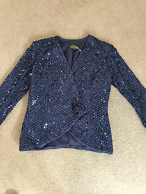 Mother Of The Bride Navy Sequinned Formal Jacket Size 14