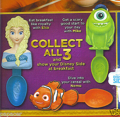 SET 3 Disney Parks SPOONS Kelloggs cereal Finding NEMO Monsters MIKE Frozen ELSA
