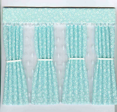 Dolls House Curtains Green Miniprint Inside Bay