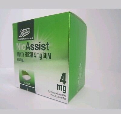 Boots Nicassist Minty Fresh 4Mg Gum Nicotine 210 Pieces New Boxed Exp: 03/2020