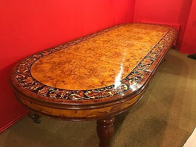 MAGNIFICENT 12.5ft WILLIAM IV STYLE GRAND BURR WALNUT DINING TABLE