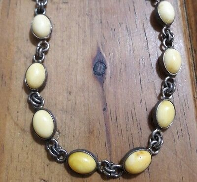 Old Sterling Silver Antique Baltic Egg Yolk Butterscotch Amber Link Bracelet