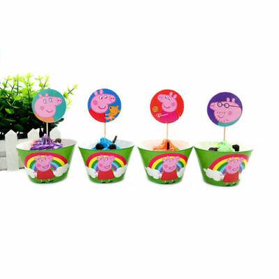 Kids Peppa Pig Theme Birthday party Cupcake Decor 24Pcs Wrappers&Toppers