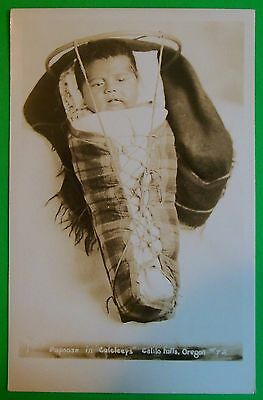 Papoose in Calcleeps Calilo Falls, Oregon #72 EKC Vintage Real Photo Postcard