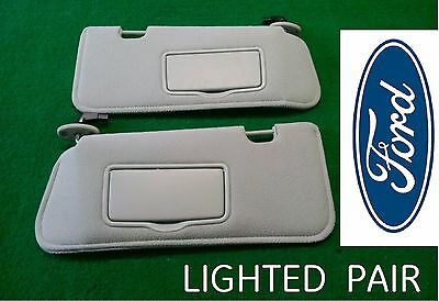 8c6f8bb5f8a 01-09 Ford Escape Mazda Tribute Lighted Sun Visors GREY Sunvisors LH RH Pair