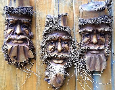 Carved Wooden Bamboo Root Old Man Face Mask NEW STYLE 40 cm Indoor / Outdoor