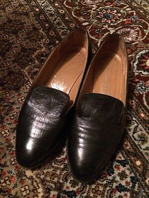 Vintage Black Leather Russell And Bromley Pilgrim Loafer Shoes