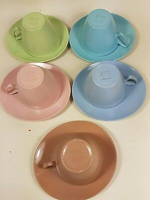 5 x VINTAGE 1960'S GAYDON MELMEX PASTEL SMALL CUPS AND SAUCERS 1960s