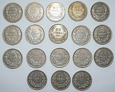 BULGARIA: 1 x 50 Leva silver (0.500) coins since 1930 in high collectible grade.