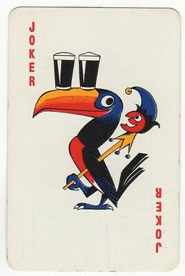 Playing Cards Single Card - Vintage JOKER - GUINNESS Toucan Bird + Small Jester