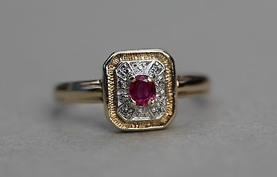 Vintage Real Ruby Diamond Ring 14K 585 Gold Size T