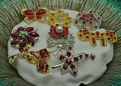 fashion jewelry Lot 8  Vintage Style  Brooches Pins Red Bouquet wholesale lot#AA