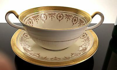 High Quality Aynsley Cream Soup Bowl and saucer Gold Dowery Pattern