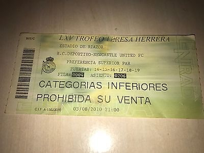 Deportivo Coruña - Newcastle 2010 Teresa Herrera Friendly Match Ticket Very Rare