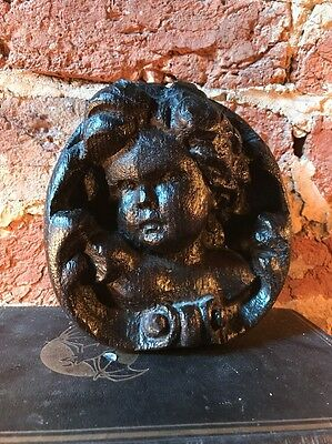 Antique Carved Oak Cherub Victorian Ladies Heads Wall Hanging Carving 19th C