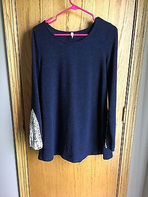 Pink Blush Maternity Navy Sweater with Lace Sleeve. NWOT. Size Large.