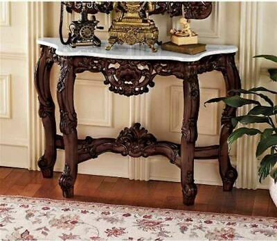 "Antique French Royal Baroque Hand-Carved 33"" Wooden Marble Topped Console Table"